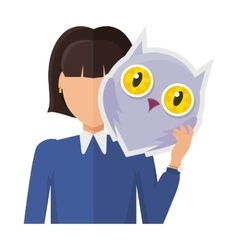 Woman Character in Jacket with Owl Mask in Hand vector image