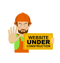 workerman with website under construction banner vector image