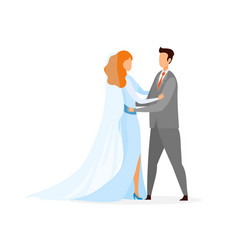young bride groom at marriage ceremony characters vector image