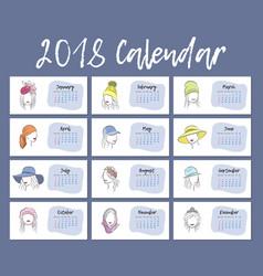 2018 year is a horizontal calendar a beautiful vector image