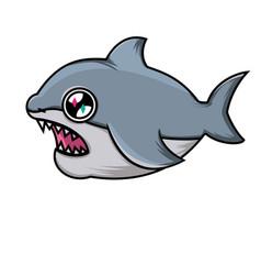 cute cartoon shark shark on white background vector image