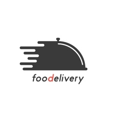 food delivery with black dish vector image