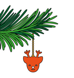 garland with reindeer head to christmas decoration vector image