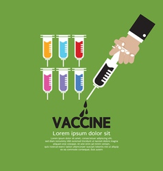 Hand Holding Syringe With Vaccine Inside vector image vector image