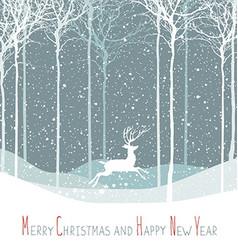 Merry Christmas postcard Christmas deer Calm vector image vector image