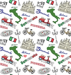 Milan Italy seamless pattern with Hand drawn vector image