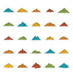 mountain doodle icons set vector image vector image
