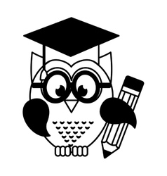 owl with graduation hat vector image