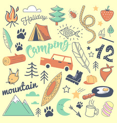 camping freehand hand drawn doodle vector image