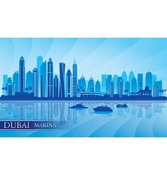 Dubai Marina City skyline silhouette background vector image vector image