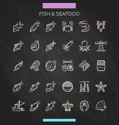 fish and seafood chalk icons vector image