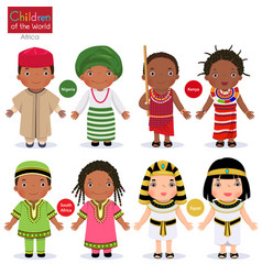 Kids in different traditional costumes nigeria vector