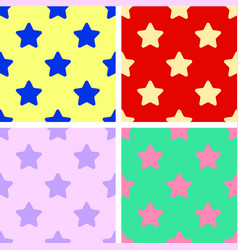 set of background seamless patterns colorful stars vector image