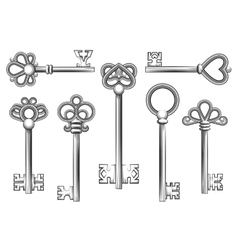 Vintage key set in engraving style vector image vector image