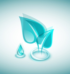 Abstract blue leaves and blue drop vector image vector image