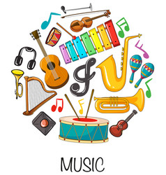 different musical instruments on white background vector image vector image