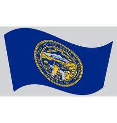 Flag of Nebraska waving on gray background vector image
