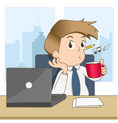 happy businessman whistling and drink coffee vector image