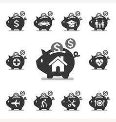Piggy bank icons vector image vector image