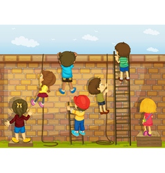 Wall and Kids vector image