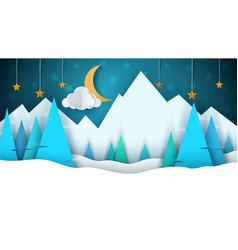 winter cartoon paper landscape merry christmas vector image