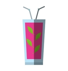 Cocktail sex on the beach straw mint leaves shadow vector