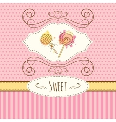 Lollipop hand drawn card with vector image vector image