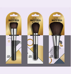 realistic professional makeup artist brush set vector image vector image