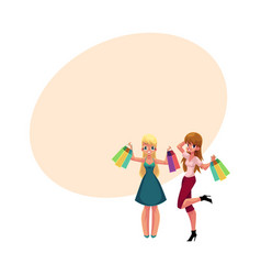 two happy women girls friends with shopping bags vector image vector image