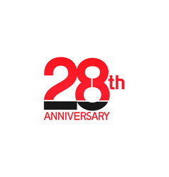 28 years anniversary logotype with black and red vector