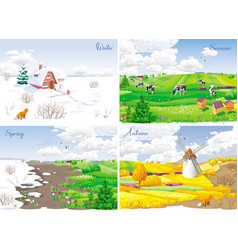 4 seasonal landscapes vector