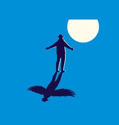 A man standing light moon vector