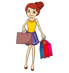 A smiling girl with bags vector
