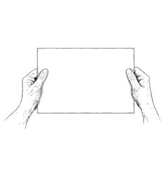 Artistic or drawing of hands holding blank sheet vector