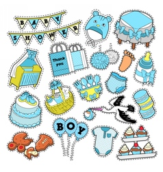 Baby Shower Boy Stickers Badges Patches vector