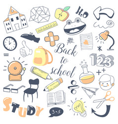 Back to school kids hand drawn doodle with boy vector