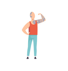 bald young man with tattoos guy having tattoo on vector image