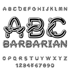 Barbarian font norse medieval ornament celtic abc vector