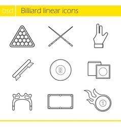 Billiard accessories linear icons set vector
