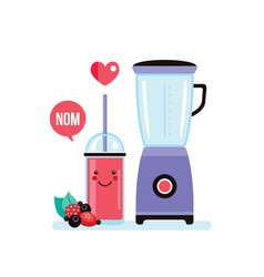 Blender and glass of fresh berry smoothie vector