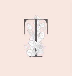 Blooming floral elegant t monogram and logo vector