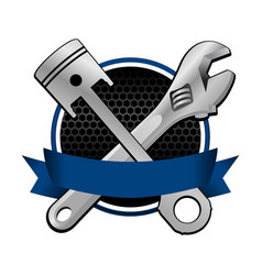 Blue ribbon wrench and piston cross racing emblem vector