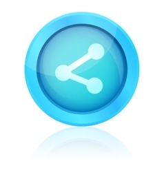 Blue share icon with reflection vector image