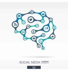 Brain concept with earth network social media vector