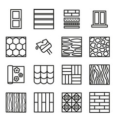 building construction materials signs black thin vector image