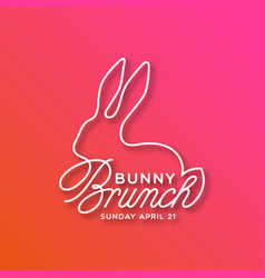 bunny brunch linear lettering vector image