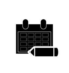Calendar and pencil icon vector