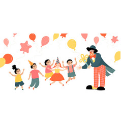 children party with a cheerful clown vector image