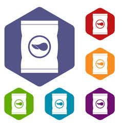 chips plastic bag icons set hexagon vector image
