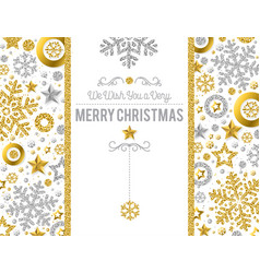 christmas card with golden glittering snowflakes vector image